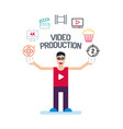 a producer man character in red tees and glass vector image vector image