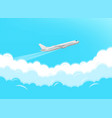 aircraft flying through clouds vector image vector image