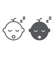 baby boy sleep line and glyph icon vector image