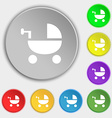 Baby Stroller icon sign Symbol on eight flat vector image