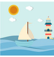 blue sea sailboat lighthouse sun background vector image