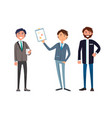 businessman on meeting with company business plan vector image vector image