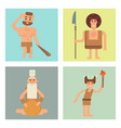 caveman primitive stone age cards cartoon vector image vector image