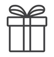 christmas gift box line icon new year christmas vector image
