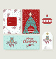 christmas tree cartoon holiday greeting card set vector image vector image