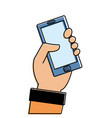 color hand with smartphone technology object icon vector image vector image