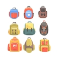 Colorful Cartoon Backpacks Set Of School Bag For vector image vector image