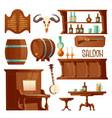 cowboy saloon western retro bar furniture set vector image