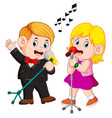 cute funny couple emotionally singing songs vector image