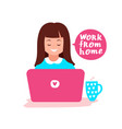 cute girl works at a laptop vector image vector image