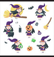 cute little halloween witches isolated vector image vector image