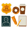 daily average policeman belongings isolated vector image vector image