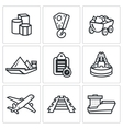 Delivery of goods in different ways icons set vector image vector image