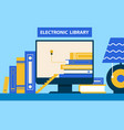 electronic library computer vector image vector image