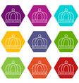 empire crown icons set 9 vector image vector image