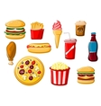 Fast food and beverage icons vector image vector image