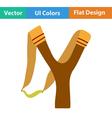 Flat design icon of hunting slingshot vector image