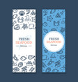 fresh seafood banner poster card ad vertical set vector image vector image