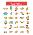 gestures thin line icons linear vector image