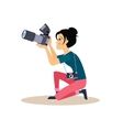 Girl Photographer in Flat Style vector image vector image