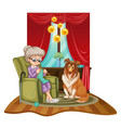 grandmother knits on sofa with dog beside her vector image vector image