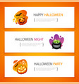 halloween horizontal banners light set vector image