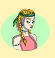 hippie blonde girl - free spirit vector image vector image