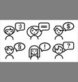 icon set people with speech bubble vector image