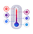 infographics thermometer hot and cold temperature vector image vector image