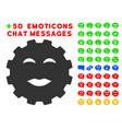 lady pleasure smiley gear icon with bonus mood set vector image vector image
