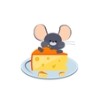 Little Gray Mouse Chewing Cheese on a Plate vector image