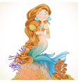 Lovely mermaid combing her long hair vector image vector image