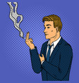 man smokes cigarette pop art style vector image vector image