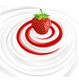 milk swirl with fresh strawberry vector image vector image