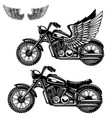 motorcycle on white background winged motorbike vector image vector image