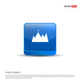 mountain icon - 3d blue button vector image
