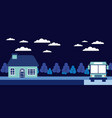 night trees house stop bus vector image