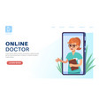 online doctor landing page internet consultation vector image vector image