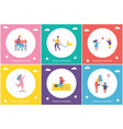people in park entertaining cartoon banner set vector image