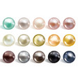 realistic different colors pearls set round vector image