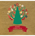 Retro Cardboard Christmas Card vector image