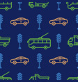 seamless pattern with car and tram icons road vector image