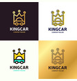 set auto king car logo design template vector image