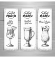 Set of cocktail sketch banners vector image vector image