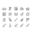 set of musical instruments line icons piano vector image