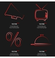Set of Red web icon flat design Simple sticker vector image vector image