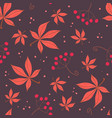 simple red leaves and berries pattern vector image vector image