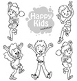 Very happy children on a white background vector image vector image