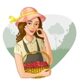 Woman with basket of raspberries tastes a berry vector image