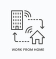work from home remote job line icon house and vector image vector image